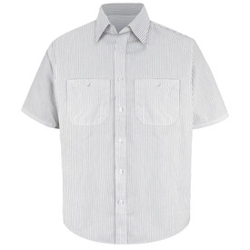 Red Kap Men's Short Sleeve Striped Dress Uniform Shirt - Red Kap charcoal and white stripes short sleeve work shirt with collar, 2 front button chest pockets and 7 button front closure.  front view.