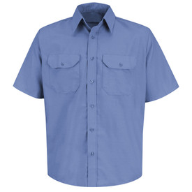 Red Kap Men's Solid Short Sleeve 2 Pocket Uniform Dress Shirt - Red Kap petrol blue short sleeve work shirt with collar, 2 front chest button pockets with cover flaps and 7 button front closure. front view.