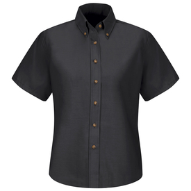 Red Kap Women's Pocketless Short Sleeve Dress Shirt - Red Kap black short sleeve work shirt with button down collar and 7 button front closure. front view.