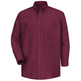 Red Kap Men's Poplin 1 Pocket Solid Dress Work Shirt - Red Kap burgundy long sleeve work shirt with button down collar, 1 front chest pocket and 7 button front closure. front view.