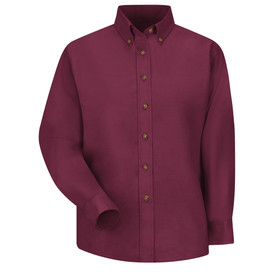 Red Kap Women's Solid Long Sleeve Pocketless Dress Shirt- Red Kap burgundy long sleeve work shirt with button down collar and 7 button front closure. front view.