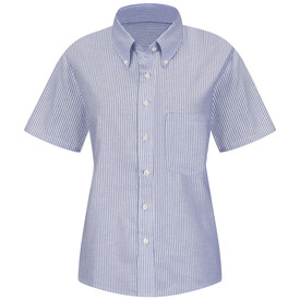 Red Kap Women's Executive Oxford 1 Pocket Dress Shirt - Red Kap blue and white stripe short sleeve work shirt with button down collar, 1 front chest pocket and 7 button front closure. front view.