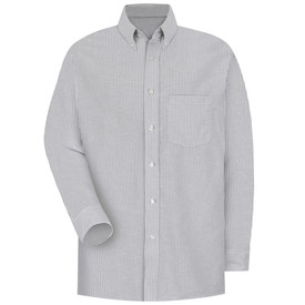 Red Kap Men's Executive Long Sleeve Dress Shirt - Red Kap grey and white striped long sleeve work shirt with button down collar, 1 front chest pocket and 7 button front closure. front view.