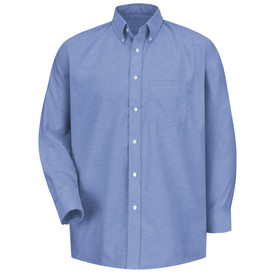 Red Kap Men's Executive Oxford Button Collar Dress Shirt - Red Kap light blue long sleeve work shirt with button down collar, 1 front chest pocket and 7 button front closure. front view.