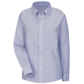 Red Kap Women's Executive Oxford Button Collar Dress Shirt - Red Kap blue/white stripe long sleeve work shirt with button down collar, button cuffs, 1 front chest pocket and 7 button front closure. front view.