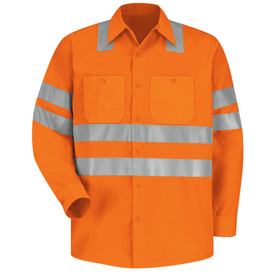 Red Kap Hi-Viz 2 Pocket ANSI Class 3 Work Shirt - Red Kap fluorescent orange long sleeve work shirt with 2 silver reflective bands around both arms above the elbow, 2 silver bands around the waist and 2 silver bands over both shoulders. Shirt also has a collar , sleeve cuffs, 2 button pockets and 7 button front closure. front view.