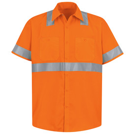 Red Kap ANSI Hi-Viz Class 2 Short Sleeve Work Shirt - Red Kap fluorescent Hi Viz orange short sleeve work shirt with collar and cuffs and 1 silver band around waist, each arm and on shoulders. Shirt also has 2 button pockets and 7 button front closure. front view.