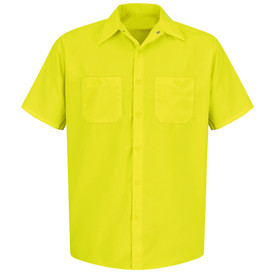 Red Kap Men's Button Down Work Shirt - Red Kap yellow short sleeve work shirt with snap collar, 2 front chest pocket with buttons and 6 button front closure. front view.