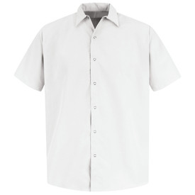 Red Kap Men's Short Sleeve Pocketless Shirt - Red Kap white short sleeve work shirt with collar, no pockets and 7 snap front closure. front view.