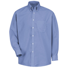 Red Kap Men's 1 Pocket Button Collar Long Sleeve Dress Shirt - Red Kap light blue long sleeve work shirt with button down collar, button cuffs. 1 front chest pocket and 7 button front closure. front view.