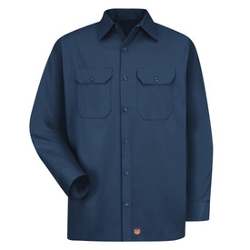 Red Kap Men's Long Sleeve 2 Pocket Utility Uniform Shirt  - Red Kap navy long sleeve work shirt with collar, cuffs, 2 covered front chest pockets and 7 button front closure. front view.