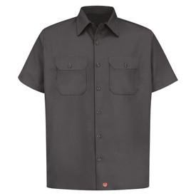 Red Kap Men's 2 Pocket Utility Uniform Work Shirt - Red Kap charcoal short sleeve work shirt with collar, 2 covered front chest pockets and 7 button front closure. front view.