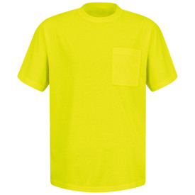 Red Kap Hi-Viz Chest Pocket T-Shirt - Red Kap yellow short sleeve tee shirt with 1 front chest pocket. front view.