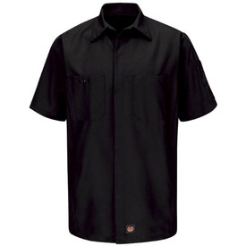 Red Kap 3 Pocket RipStop Crew Shirt - Red Kap black long sleeve work shirt with collar, cuffs, 2 front chest pockets and concealed closure. front view.