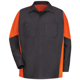 Red Kap RipStop 3 Pocket Crew Shirt - Red Kap black long sleeve work shirt with orange material on the sides and top half of each sleeve.  The shirt has a  collar, cuffs, pocket on left chest, button pocket on right chest, pocket on left sleeve and concealed front button closure. front view.