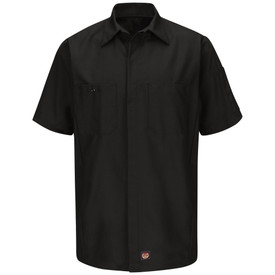 Red Kap Solid RipStop Shop Shirt - Red Kap black short sleeve work shirt with collar, 2 front chest pockets of which the right pocket has a button. The shirt has concealed front closure. front view.
