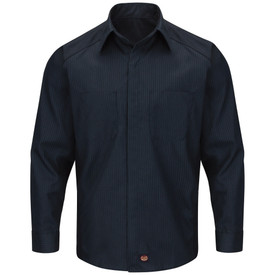 Red Kap Men's Striped Straight Hem Auto  Shirt - Red Kap navy long sleeve shirt with thin light blue stripes, collar, cuffs, 2 front chest pockets and concealed front closure. front view.