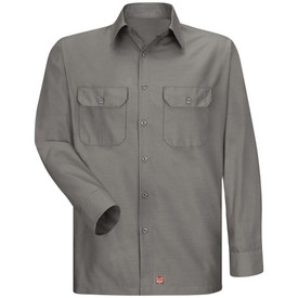 Red Kap Men's RipStop Solid Work Shirt - Red Kap grey long sleeve work shirt with collar and cuffs, 2 front button covered chest pockets and 7 button front closure. front view.