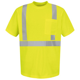 Red Kap Men's Hi-Viz Class 2 ANSI Short Sleeve T-Shirt - Red Kap yellow short sleeve work shirt with silver reflective tape around the waist, both arms above the elbow and up the front and over both shoulders. 1 pocket on left chest.  front view.