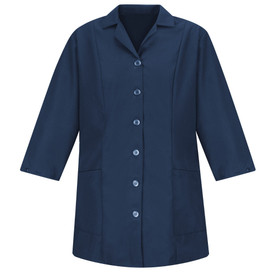 Red Kap Women's Fitted Housekeeping Smock  - Red Kap navy long sleeve housekeeping coat with collar, 6 button from closure and 2 lower pockets.. front view.