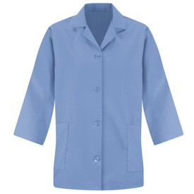 Red Kap Women's Housekeeping 2 Pocket Smock - Red Kap light blue long sleeve smock with collar and 2 front lower waist pockets. front view.
