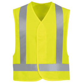 Red Kap Hi-Viz NON-ANSI Hook and Loop Safety Vest - Red Kap yellow hi Viz safety vest with silver reflective tape around waist and up front and over shoulders. Front View