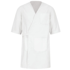 Red Kap Unisex Food Processing Wrap - Red Kap white 3/4 sleeve Butcher Wrap with 2 lower pockets and 1 upper left pocket. Left side wraps over right side with an attached belt that wraps around wrap and ties at the back. front view.