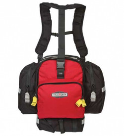 True North Spitfire Midsize Gear Pack - Durable black and red gear pack with reflective strips on back, sides, and bottom, and yellow zipper pulls for side and front zippered pockets. With lots of buckles and backpack suspension system.
