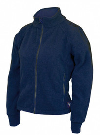 True North DFW1 Dragonwear Women's FR Fleece Jacket - Navy women's zippered long sleeved jacket with front zippered pocket and stand up collar.
