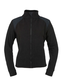 True North DFW5 Dragonwear Nomex® FR Women's Jacket - Front View of Black long sleeved women's zippered jacket with stand up neck.