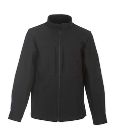 True North DFS31 FR Black Soft Shell Jacket - Front View Black soft shell jacket with stand up neck and zipper front.