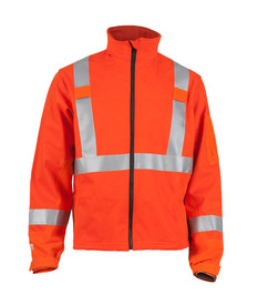 True North DFS14 DragonShield Softshell FR Jacket - Orange jacket with silver reflective striping around both arms above the wrists, around the waist and up over both shoulders. Jacket has stand up collar, black zipper and Velcro tabs on wrists.