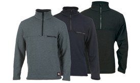True North DFM2 FR & Wind Resistant 1/4 Zip Sweatshirt - Gray, Navy blue, and black quarter zip sweatshirts with zippered left chest front pocket and stand up collar.