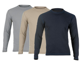 True North DFH0 Men's PowerDry FR 6.4 oz Shirt - Gray, tan, and black stretchable long sleeved shirts.