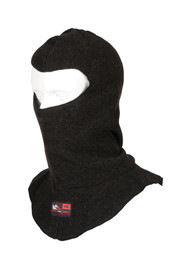 True North DF811 Nomex Fleece Balaclava - Black fleece Balaclava face mask with upper facial opening and neck and shoulders covered.