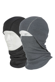 True North DFM83 FR Convertible Balaclava - Black and gray convertible balaclavas worn on 2 mannequins with black below the chin and the gray balaclava worn over the mouth and nose.
