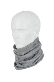 True North Neck Tube - Gray thermal neck warmer wrapped around neck of a mannequin. Neck warmer is crunched up around neck.