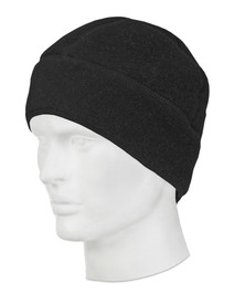 True North DF900 FR Nomex Fleece Beanie Hat - Black thermal fleece beanie on a mannequin