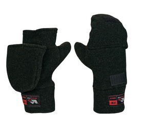 True North DF950 FR Flip-Top Mitts - Black Flip top mittens showing 1 mitten with cover closed and the other mitten has cover folded back and attached to Velcro at the top of the mitten.