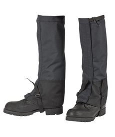 True North DFG20 Nomex FR Waterproof Leg Gaiters - View of Black Leg Gaiters below the knees and strapped underneath black boots.