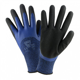 PIP Blue Polyester Double-Dipped Coating Glove - Black coating on palm and fingers with blue fabric glove.