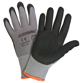 PIP Nitrile Foam Dipped Oil Channel Grip Glove - Pair of two gray and black coated safety work gloves with elastic fit wrists and orange hem.