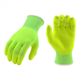PIP Hi-Vis Yellow Microfoam Nitrile Palm Dip on Hi-Vis Shell - Yellow coating on fingers and palm, with green fabric glove and elastic cuff.