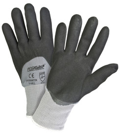 PIP 15 Gauge Nitrile Foam 3/4 Dipped Glove - Pair of two gray and black coated safety work gloves with elastic fit wrists and white hem.