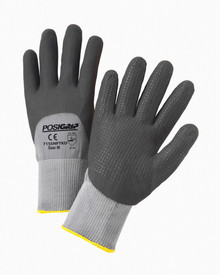 PIP Nitrile Foam 3/4 Dipped Dotted Palm Glove - Pair of two gray and black coated safety work gloves with elastic fit wrists and yellow hem.