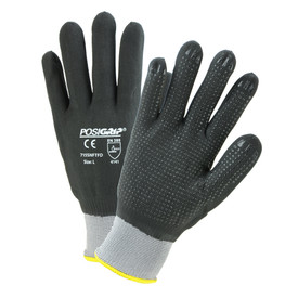 PIP Full Nitrile Foam Dip Dotted Palm Glove - Pair of two gray and black coated safety work gloves with elastic fit wrists and dotted black coated palms.