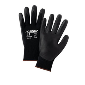 PIP Nitrile Oil & Wet Grip Glove - Pair of two black and gray coated safety work gloves with elastic fit wrists.