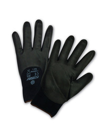 PIP Nitrile 3/4 Dip Silicone Free Work Glove - Pair of two black coated safety work gloves with elastic fit wrists.