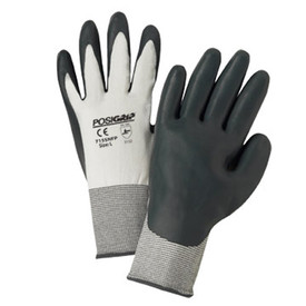 PIP Sponge Nitrile Dipped 15 Gauge Work & Grip Glove - Pair of two white and gray coated safety work gloves with elastic fit wrists.