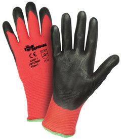 PIP Nitrile Black Foam Coated Red Shell Glove - Pair of two red and black coated safety work gloves with elastic fit wrists.